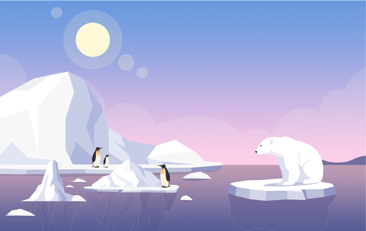 Global warming banner template. north pole, melting glaciers, penguins and polar bear on ice floe flat illustration with text space